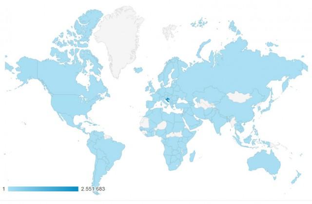 Mapa Svijeta, čitatelji portala Metkovic NEWs